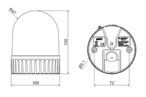 LED Universal rotating- and flashing light Skizze