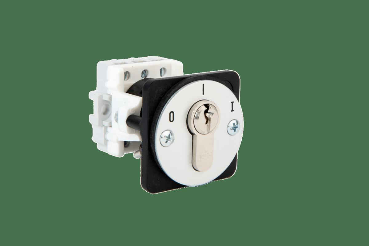 J-KU 1-1R/2 flush mount key switch one way latching Ref.: 099.1202.10 – with cylinder Ref.: 099.1202.00 – without cylinder
